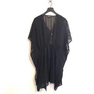 [Newport News] Black Sheer Embroider Kimono -Small